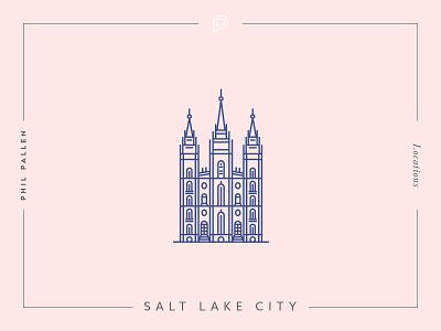 Salt Lake City Icon travel location line utah vector flat landmark architecture icon city lake salt