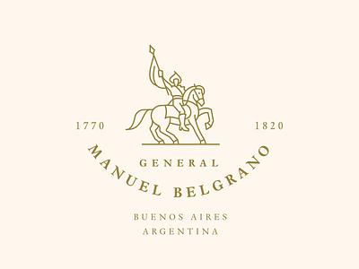 Manuel Belgrano Monument aires buenos argentina monument vector illustration art line icon