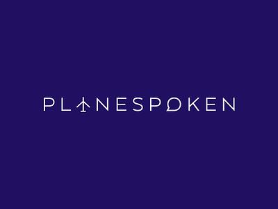 Planespoken Logo plane wordmark simple icon typography identity brand logo