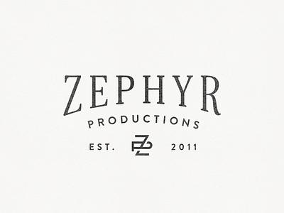 Zephyr Productions Logo videographer photographer photography identity branding lettering letterform monogram lockup logo