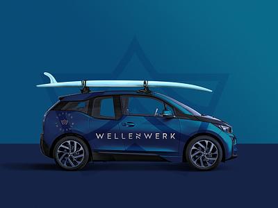 Wavepool Brand Identity corporate branding style mark pool wave surfing car sport mockup logo identity brand