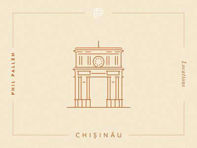 Chișinău Icon landmark architechture triumphal arch moldova chisinau illustation vector art flat travel city icon line art