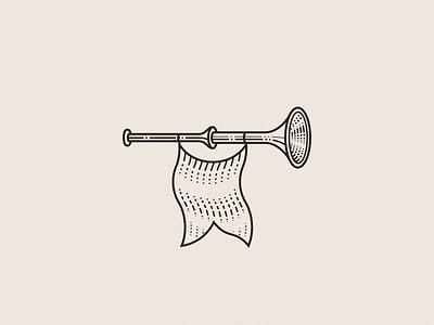 Trumpet design illustration vector brand flat identity icon