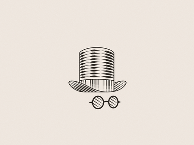 Cylinder Hat & Glasses engraving glasses cylinder hat design illustration line vector identity brand icon