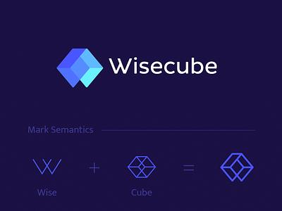 Wisecube Logo cube monogram letterform vector mark flat identity brand icon logo branding
