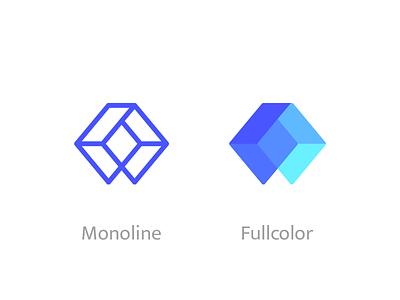 Monoline Vs Fullcolor Wisecube Mark mono line fullcolor design monogram mark line flat vector brand identity logo icon branding