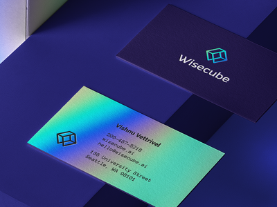 Wisecube Brand Implementation business cards business card businesscard holographic neon foil print design monogram branding icon mark line flat vector brand identity logo
