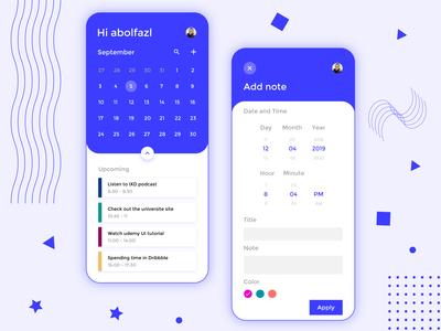 Daily schedule app UI