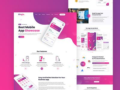 Bingle - Mobile App Landing Page design portfolio creative creative business multipurpose business corporate web design agency business agency landingpage mobile mobile app