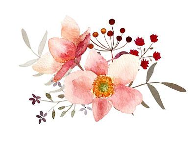 Japanese anemone bouquet watercolor flowers floral illustration flowers orange japanese etsy pink purple watercolor art illustration autumn fall bouquet anemone berries watercolor watercolour