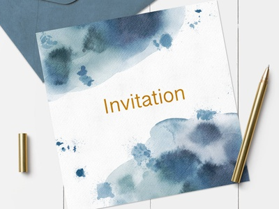 Blue washes dribbble free logo invite spots wash how to illustration proceate watercolour tutorial
