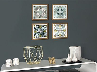 Art Nouveau vector Tiles old style vector art numeric at mural art decoration aqua color cement tiles teal tiles art nouveau