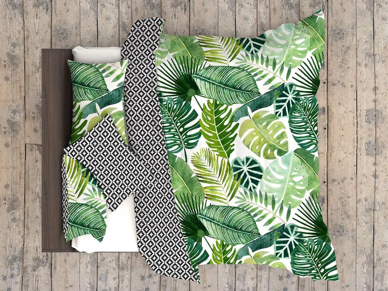 Jungle pattern botanical tropical green leaf palm tree leaves exotic pattern ethnic design ikat monstera urban jungle textile design