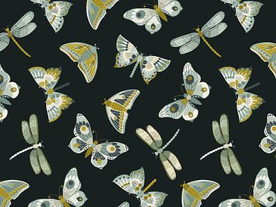 Art Nouveu style butterflies seamless pattern patternbank ocre surface designing night blue teal butterfly illustrator seamless pattern celadon art nouveau