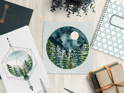 Mystic Trees watercolor tattoo idea enigmatic design pine tree dashed outline teal turquoise mystic illustration deep forest spruce winter landscape misty forest moon alchemy mystery starry night mountain landscape fir tree