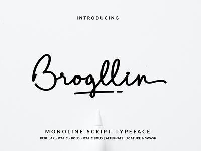 Brogllin Script Font vector branding illustration layout hand lettering handlettering typography lettering font design