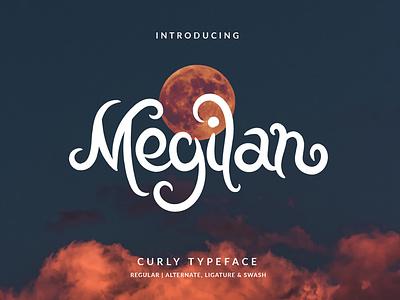 Megilan Curly Font branding vector illustration layout hand lettering handlettering typography lettering font design