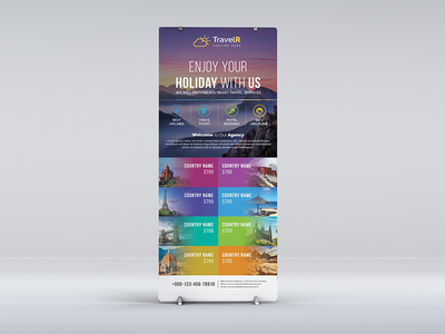 Travel Roll Up Banner smile service rollup roll-up relaxation promotional promotion planner outdoor leisure journey holiday grounge fun exotic corporate business booking banners agency