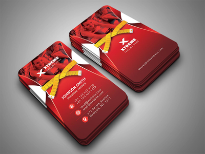 Fitness Business Card trainer template studio sports rumba pilates martial arts health gym flyer fitness exercise dance crossfit coach club card business boxing body building