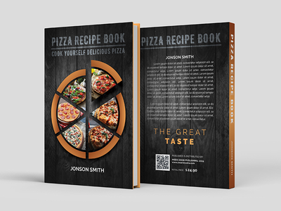 Recipe Book Cover Pizza kitchen italian health half-fold green great fresh food fantastic fabulous eat dinner dessert culinary cooking cookbook cook clean brochure beautiful