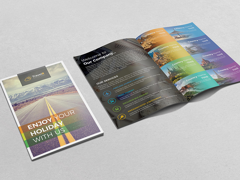 Travel Bifold Brochure by Fayshal on Dribbble