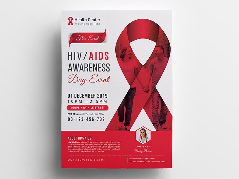 Aids Awareness Flyer ribbon red ribbon red positive people health patent knowledge hospital hiv people hiv event caring awareness aids month aids awareness aids