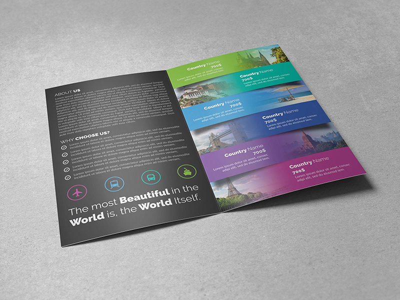 Travel Bifold Brochure vacation universal travel brochure travel agency travel template psd print template holiday design corporate brochure corporate company clean business brochure bifold brochure bifold
