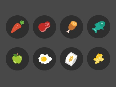 Ingredient Icons recipe freebie chess flour egg apple fish poultry beef carrot ingredient icons food icons
