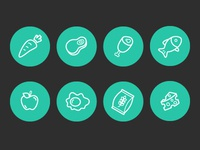 Food ingredient icons lines