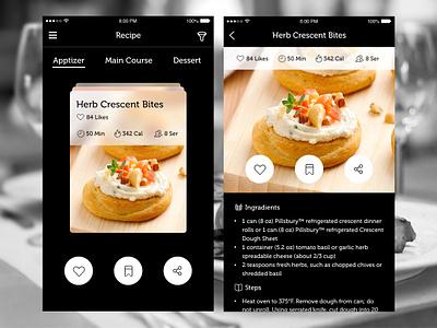 Recipe App gif sliders card view filters ingredients mobile freebie recipe