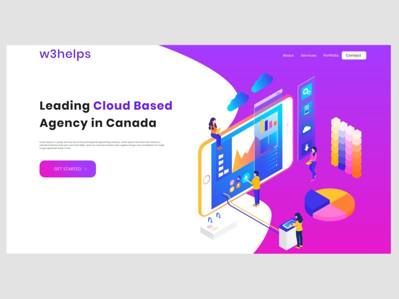 Cloud agency header illustrations flat design typography illustration agency illustration web design website design header illustrations cloud agency