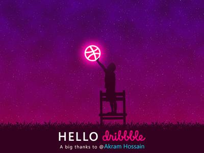 Hello Dribbble hello dribbble 1st shot flat vector design illustration