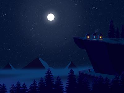 Night Illustration fog cloud forest bike mountain moon nature illustration night illustration