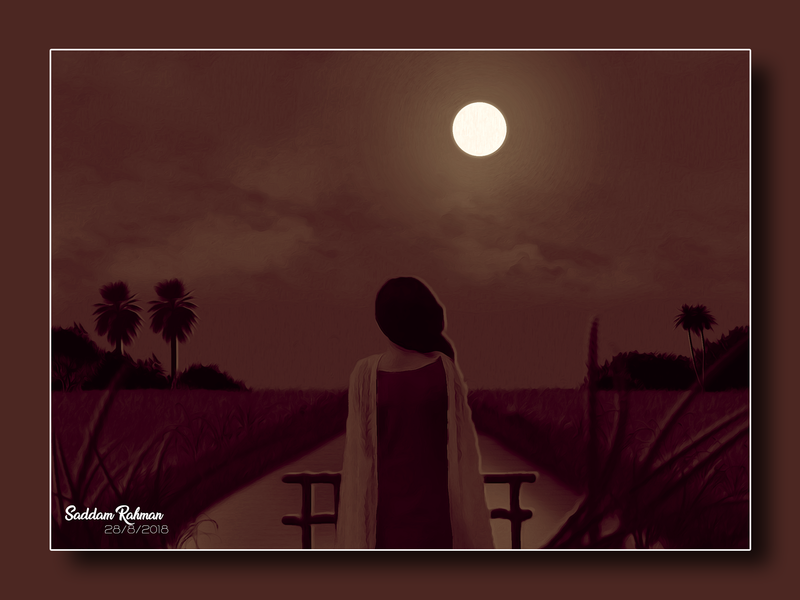 Lonely Feeling painting illustration oil painting loneliness sky single moonlight night missing alone sad person art lonely