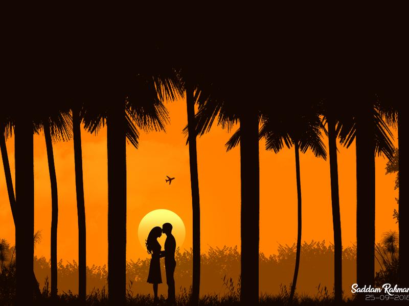 ღ Romantic couple ღ sunset couple romantic vector background vector art illustration sky love
