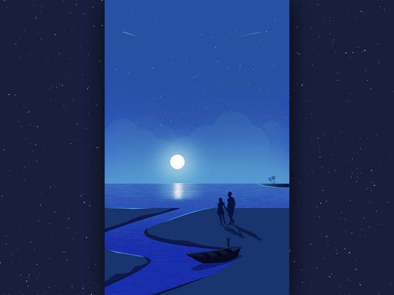 Moon & Romantic Couple. flat art cloud couple sky beautiful romantic moonlight night love illustration