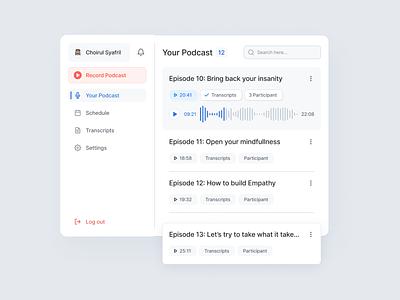 Podcast Plugin Dashboard audio app microsoft music ux uiux minimalist recording podcast dashboard plugin ui records audio record mic