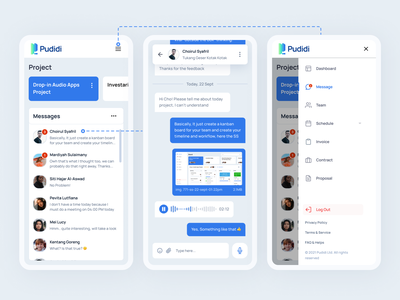 Pudidi - Project Management Messenger mobile app dashboard app management app project management project manager message app voice voice note conversation chat mobile saas mobile message messanger saas