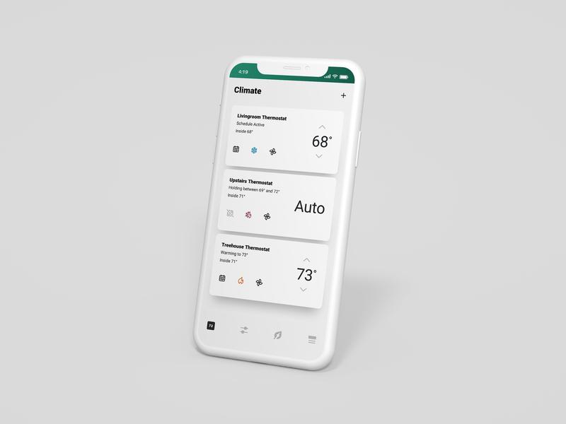Thermostat Management Screen thermostat smart home renewable energy app ux design ui design branding product design