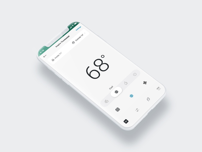 Smart-Home Thermostat Control Screen smart home app smart home renewable energy app ux design ui design branding product design thermostat