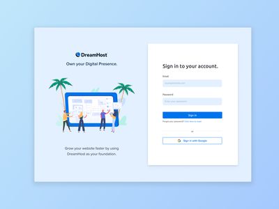 DreamHost Dashboard Login Page login page