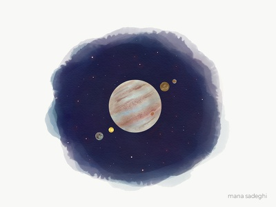 Meet Jupiter and its moons design space sketch planet illustration