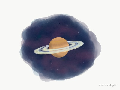 Meet Saturn planet space sketch illustration