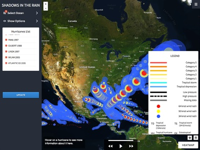 Shadows in the Rain hurricanes map visualization ux ui weather graph ocean chart application app analytics
