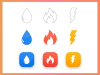 Elements - Sketches, icons and app icons logo sketch illustration app icons icons thunder bolt lightning flame fire drop water