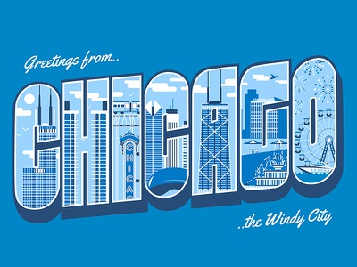 Greetings from Chicago! sketch windy city city sears tower navy pier bean illustration architecture type typography buildings chicago