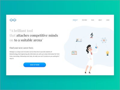 BioOpps landing page redesign layout illustration web app simple ui visual design minimal minimalistic design product design product web design website web landing bioopps