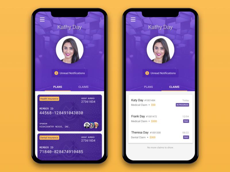 Insurance App profile cards list claim insurance ios iphone mobile app design app mobile ux ui