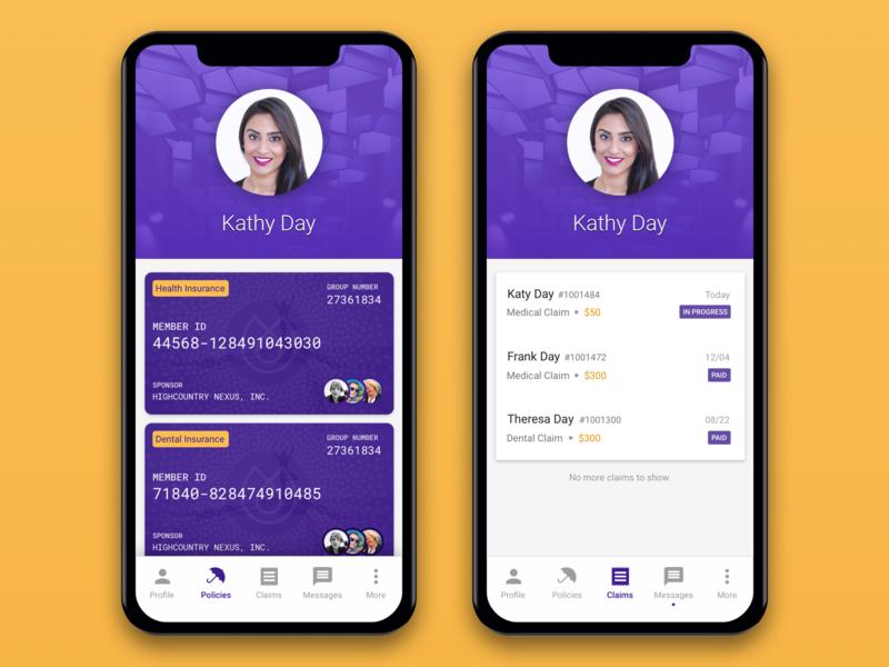 Insurance App - Alternative Design insurance company cards profile mobile app design card list iphone ios mobile design app ux ui