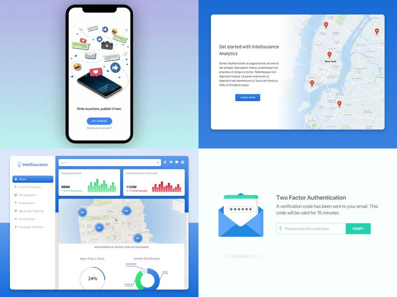 2018 Best Four mobile landing illustration graph web design visualization analytics web design app ux ui